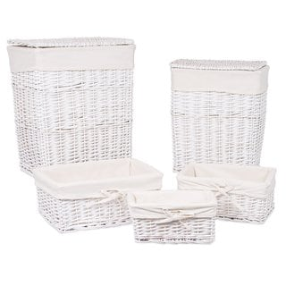 BirdRock Home Woven Willow White 5-piece Rattan Baskets With Cotton Liners