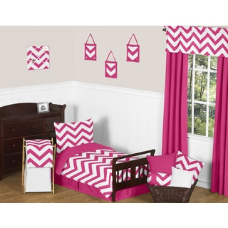 Sweet Jojo Designs 5-piece Hot Pink and White Chevron Toddler-size Bed in a Bag with Sheet Set