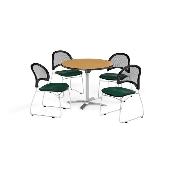 OFM Oak 36-inch Square Flip Top Break Room Table with 4 Moon Chairs - 36