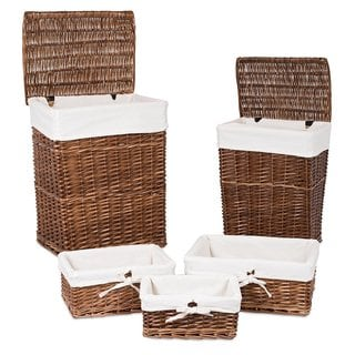 BirdRock Home Woven Willow Brown Wood-finished 5-piece Rattan Baskets With Cotton Liners