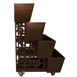 PowerKing Brown Metal 3-in-1 Garden Flower Cart and Elevated Planter Combo