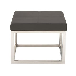 Comfortable Stainless Steel Grey Leather Stool