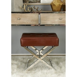 Classic Stainless Steel Tufted Leather Stool