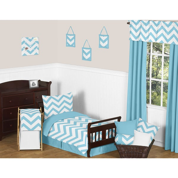Sweet Jojo Designs 5-piece Turquoise and White Chevron Toddler-size Bed in a Bag with Sheet Set