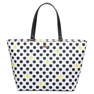 Kate Spade Grant Street Grainy Vinyl Jules Apple Cream/Black Tote Bag
