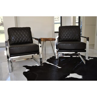 SOLIS Stratum 2-Piece Accent Chair Set with Chrome and Black Bonded Leather