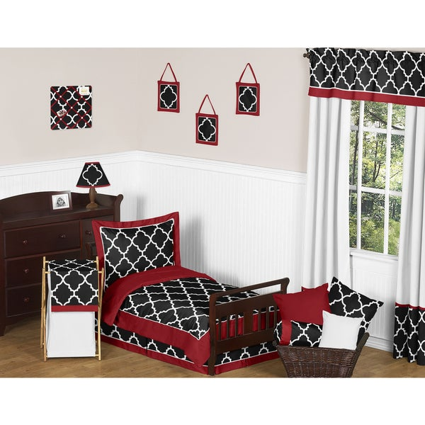 Sweet Jojo Designs 5-piece Red, Black and White Trellis Print Toddler-size Bed in a Bag with Sheet Set