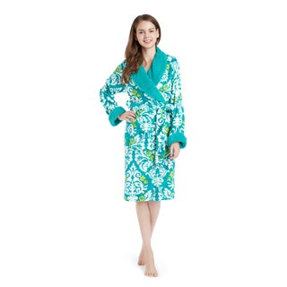 Artology Damask Green Plush Wrap Robe