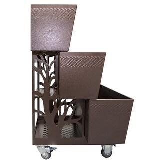 PowerKing Brown Metal 3-in-1 Elevated Planter and Garden Flower Cart Combo