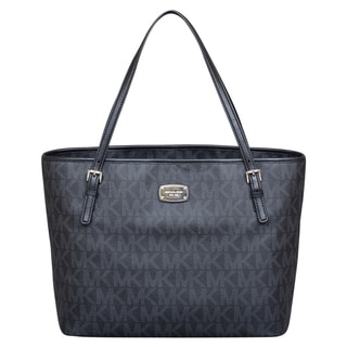 Michael Kors Jet Set Black Signature Diaper Tote Bag