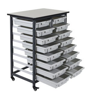 Offex Metal Mobile Double Row 16 Small Bin Storage System