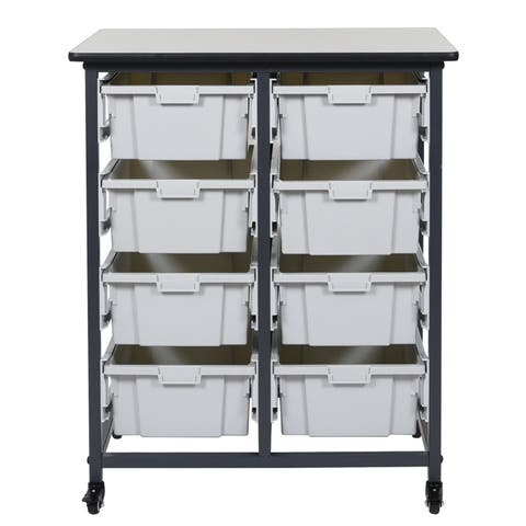 Offex MBS-DR-8L Mobile Double Row with 8 Large Bins Storage System