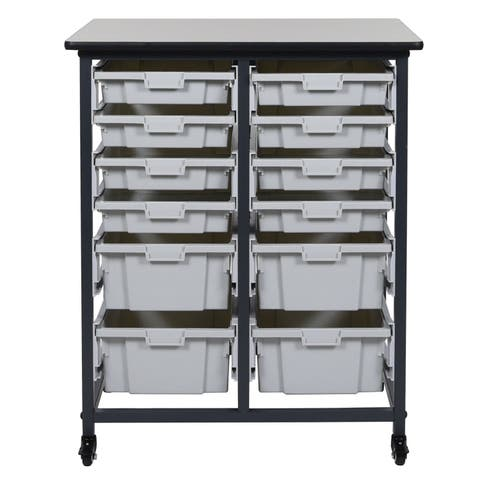 Offex Mobile Double Row Bin Storage System with 8 Small Bins