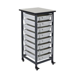 Offex Mobile Single Row Bin Storage System with 8 Small Bins