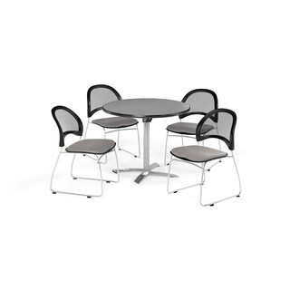 OFM Gray 42-inch Square Multi Purpose Table with 4 Moon Chairs