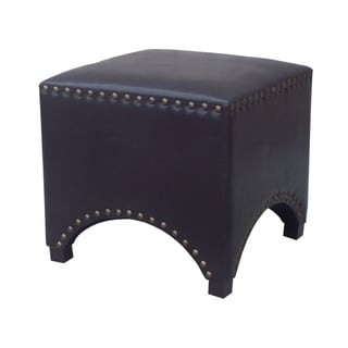 Urban Shop Black and Brown Faux Leather Arched Nailhead Ottoman
