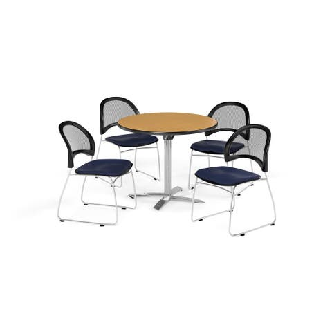 """OFM Oak 42-inch Square Multi Purpose Table with 4 Moon Chairs - 42"""""""