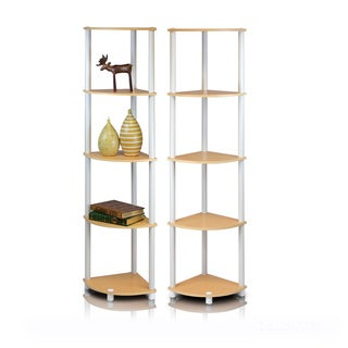 Furinno Turn-N-Tube 5-Tier Corner Shelving Unit (Pack of 2)