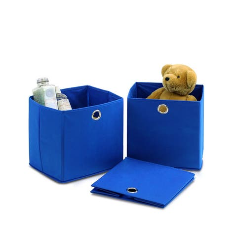 Furinno Laci Blue Foldable Storage Organizer with Round Ring Handle (Pack of 3)