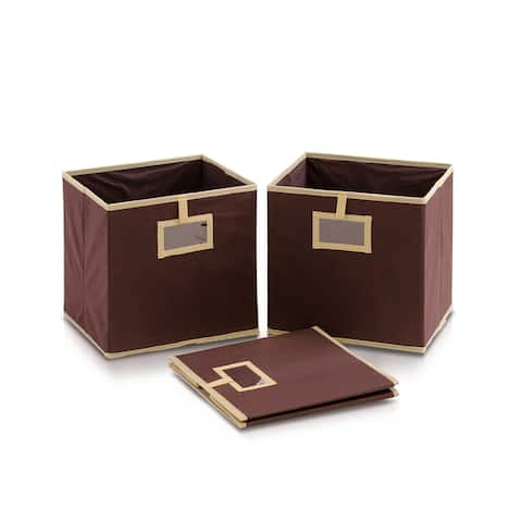 Furinno Laci Brown Fabric Foldable Storage Organizer with Card Display Pocket (Pack of 3)