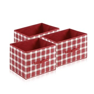 Furinno Laci Check Design Red/White Non-Woven Fabric Soft Storage Organizer