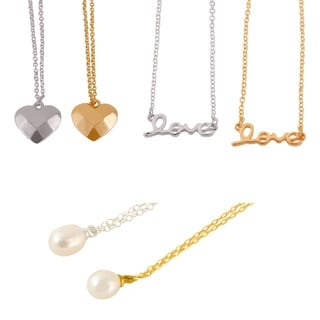Gold or Silver Overlay Love Necklaces