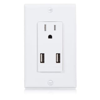 Maxxima Style Single Wall Outlet Dual USB 2.4A Charger 15 Amp Tamper Resistant