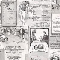 Manhattan Comfort Boca Vintage Menu Paper and Vinyl 32.7-foot x 20.5-inch Wallpaper