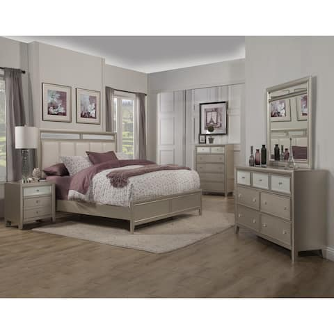 Alpine Furniture Silver Dreams Panel Bed with Upholstered Headboard, Silver
