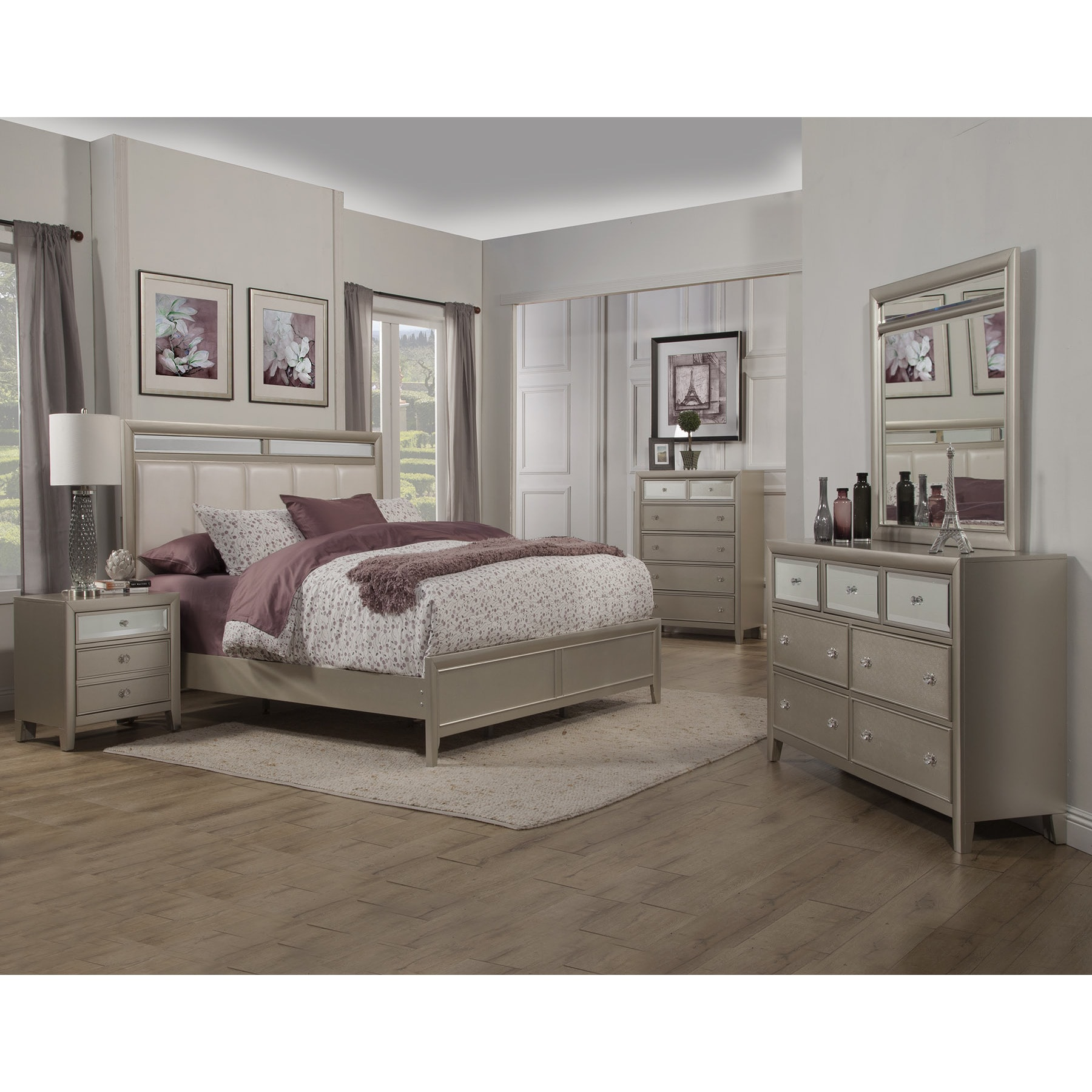 Alpine Furniture Alpine Silver Dreams Panel Bed with Upho...