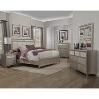 Alpine Silver Dreams Panel Bed with Upholstered Headboard