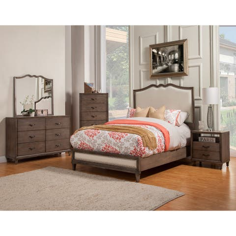 Alpine Furniture Charlston Panel Bed with Upholstered Headboard and Footboard
