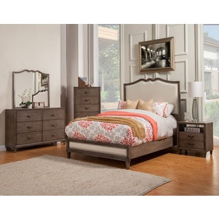 Alpine Charlston Panel Bed with Upholstered Headboard and Footboard
