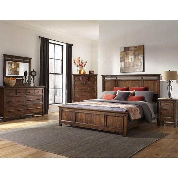 Greyson Living Laguna Antique White Panel Bed 6piece: Shop Wolf Creek Rustic Vintage Acacia Panel Bed Set
