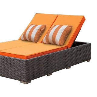 SOLIS Benitto Double Chaise Lounger Sun Chair - Orange Cushions