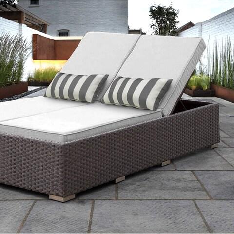 SOLIS Benitto Double Chaise Lounger Sun Chair - White Cushions