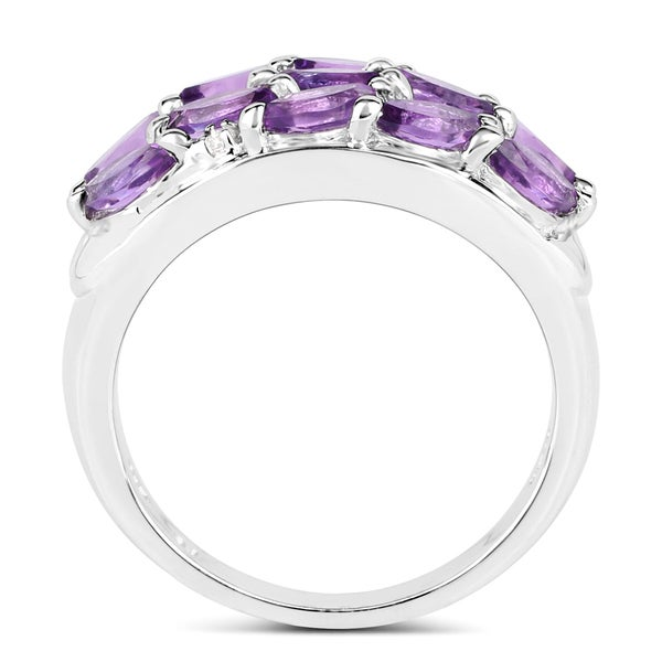 1.67 Carat Genuine Amethyst and White Topaz .925 Sterling Silver Ring