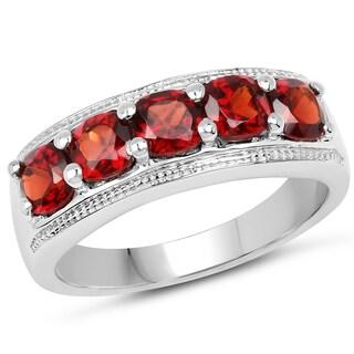 Malaika .925 Sterling Silver 1.65-carat Genuine Garnet Ring