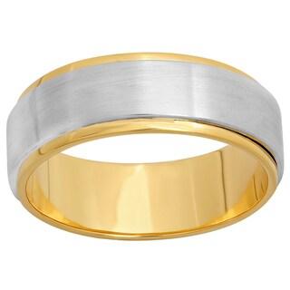 Unisex 10k Two-tone Gold 7-millimeter Polished Wedding Band