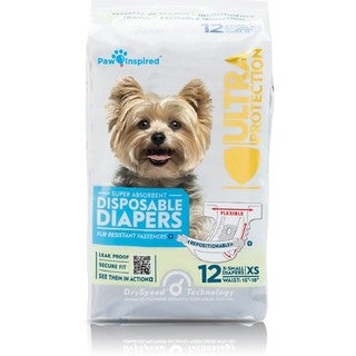 Paw Inspired Ultra Protection Bulk Female Disposable Dog Diapers (Case of 144)