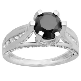 Elora 10K White or Yellow Gold 2 3/4 ct. TDW Round Black & White Diamond Engagement Ring (Black & H-I, Opa