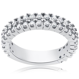 14k White Gold 3/4ct Half Eternity Double Row Diamond Ring (I-J, I2-I3)