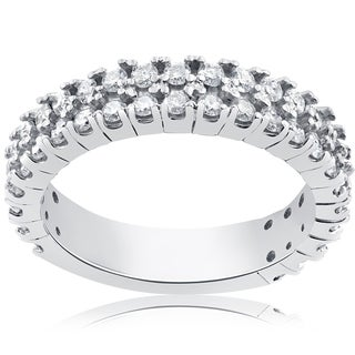14k White Gold 3/4ct Half Eternity Double Row Diamond Ring