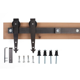 Ironwood Hardware Black Raw Steel 6-foot Cathedral Barn Door System With Unfinished Header