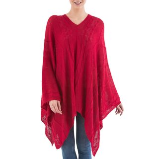 Handcrafted Acrylic Alpaca Blend 'Red Earth Cracks' Poncho (Peru)