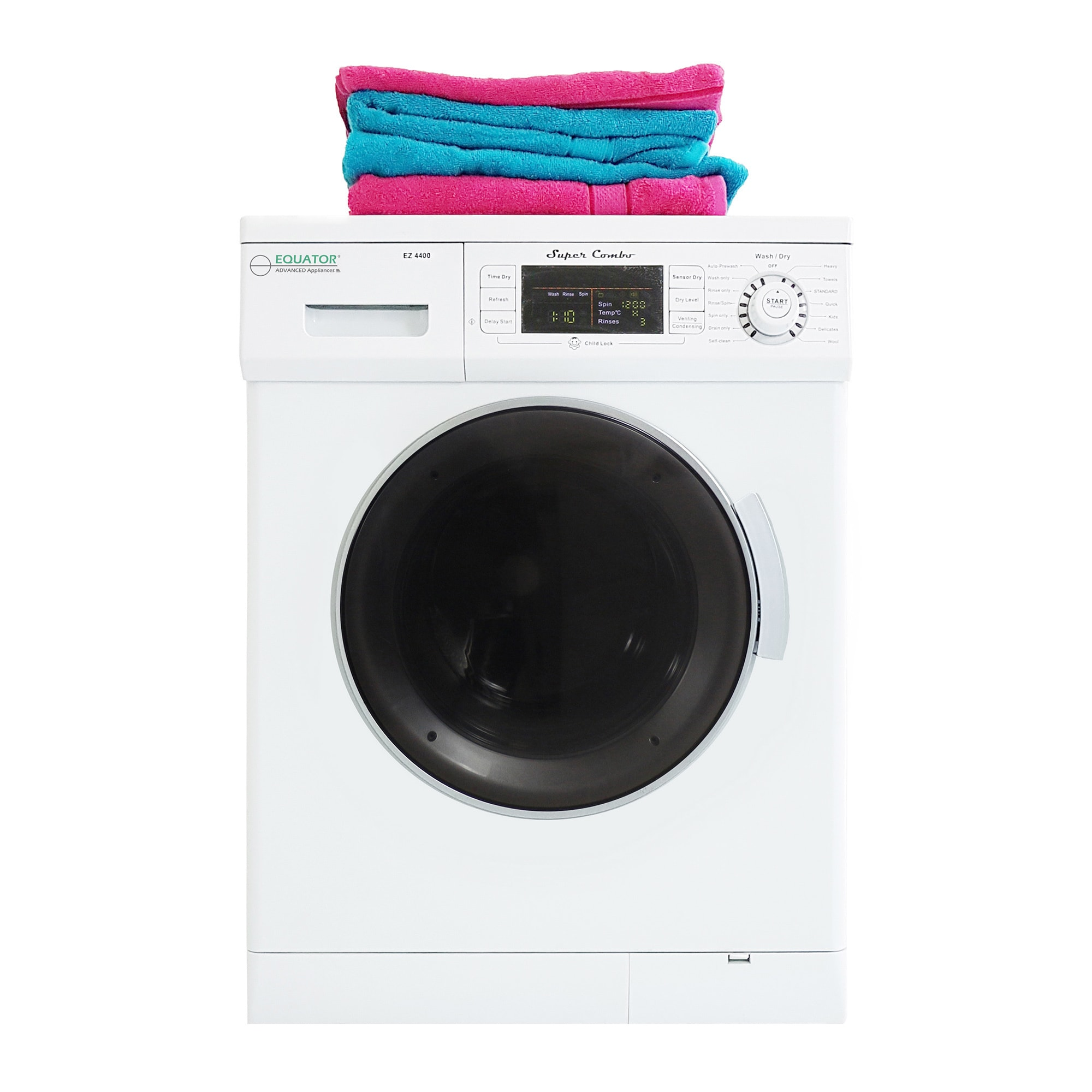 Compact Combo Washer and Electric Dryer with Optional Condensing//Venting and Sensor Dry in Silver