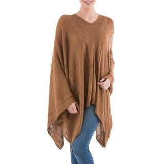 Handcrafted Acrylic Alpaca Blend 'Copper Earth Cracks' Poncho (Peru)