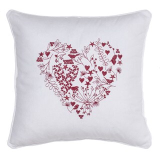 Love Is In The Air' Red/White Cotton-blended Throw Pillow