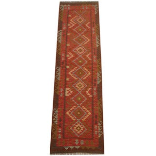 Herat Oriental Afghan Hand-woven Tribal Vegetable Dye Wool Mimana Kilim Runner (2'9 x 9'11)