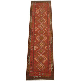Herat Oriental Afghan Hand-woven Vegetable Dye Tribal Wool Mimana Kilim Runner (2'9 x 9'11)